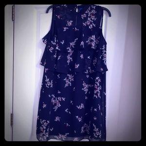 Black Floral Flutter Dress
